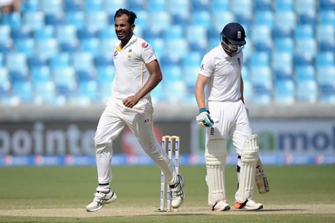England report Wahab Riaz for treading on ball