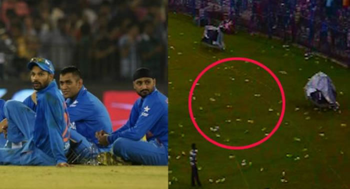 Indian Fans Throw Bottles in Ground In Cuttack India vs South Africa T20