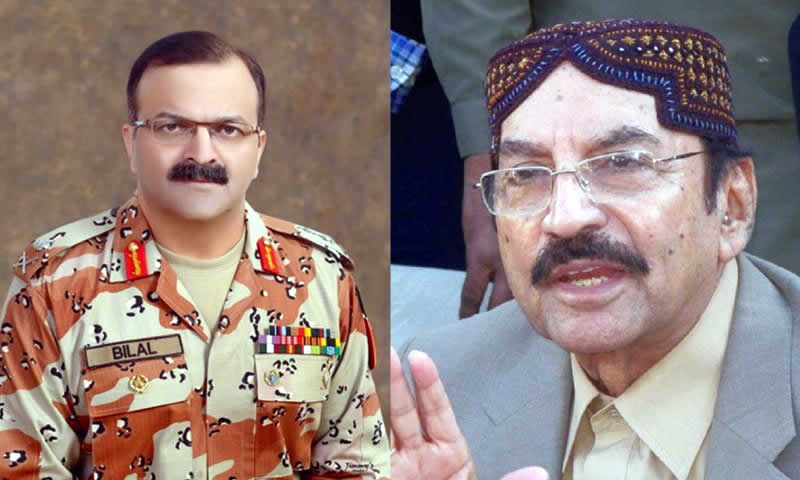 Maj Gen bilal akbar and Syed Qaim Ali Shah