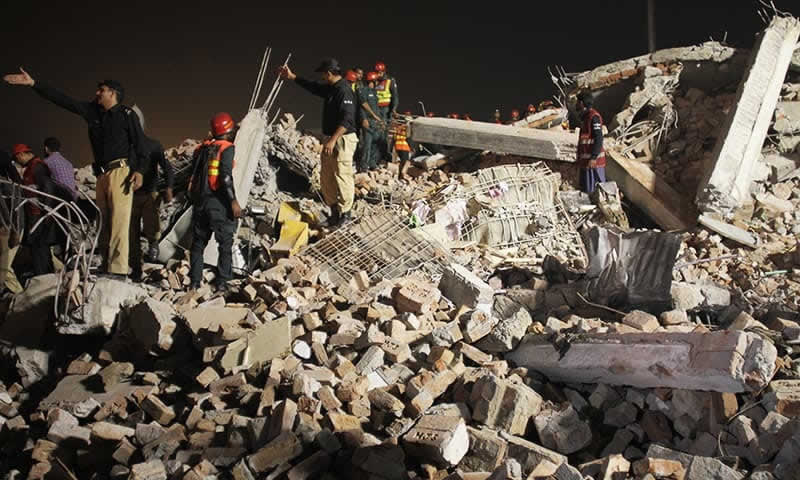 Lahore factory rubble