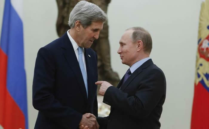 John Kerry and President Vladimir Putin.
