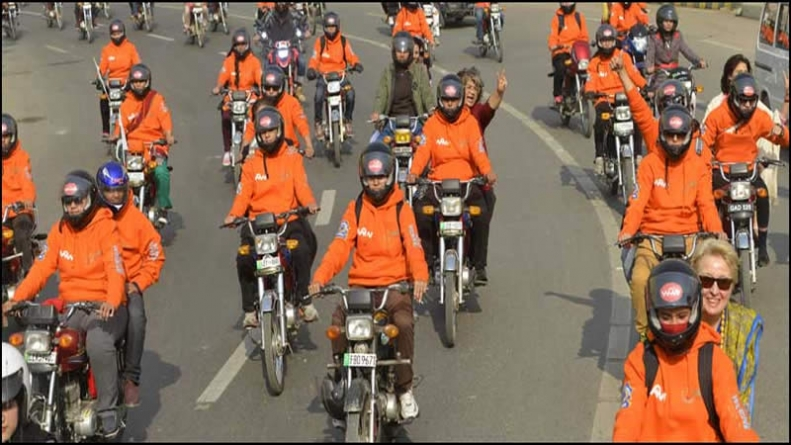 Women stage motorcycle rally in Lahore