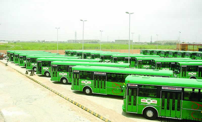 Green bus in karachi