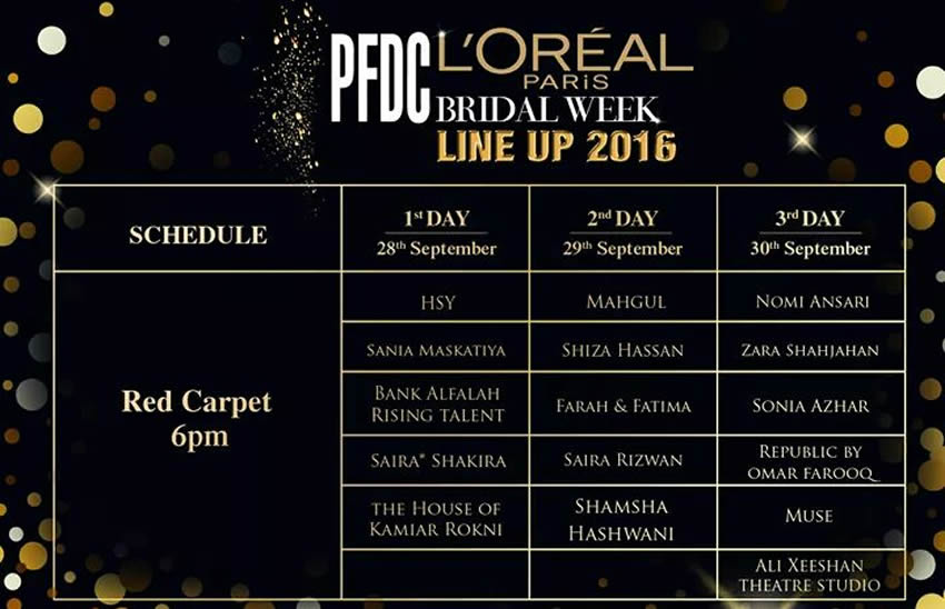 PFDC LOreal Paris Bridal Week 2016 Schedule