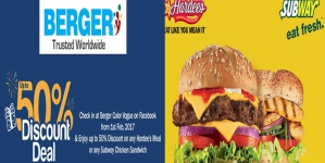 Berger Offers 50% Discount Deal at Hardee's & Subway