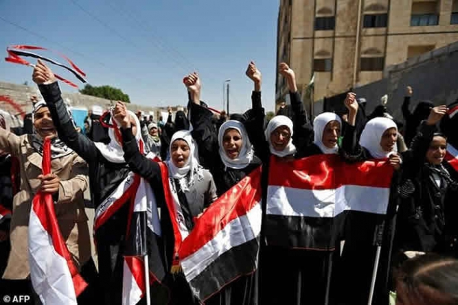 Yemeni Women Rally Against War Outside UN Offices