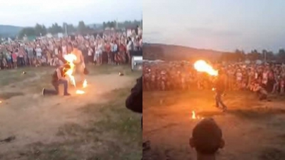 VIDEO: Fire Breather's Performance Goes Wrong