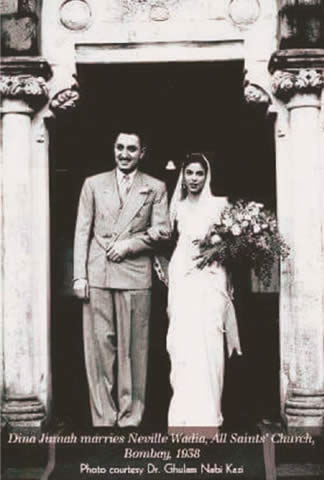 Dina marries Neville Wadia at the All Saints' Church in Bombay, 1938.—Courtesy Dr Ghulam Nabi Kazi