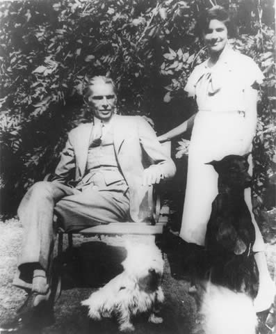 Mr Jinnah and Dina share a private moment in the grounds of their home on West Heath Road in Hampstead, London.—Courtesy National Archives Islamabad