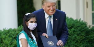 Trump Lauds Pakistani-American Girl Scout as 'Coronavirus Hero'