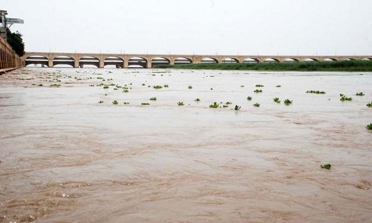 High flood at Chashma, Kalabagh