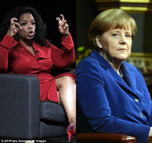 Oprah Winfrey (left) and Angela Merkel
