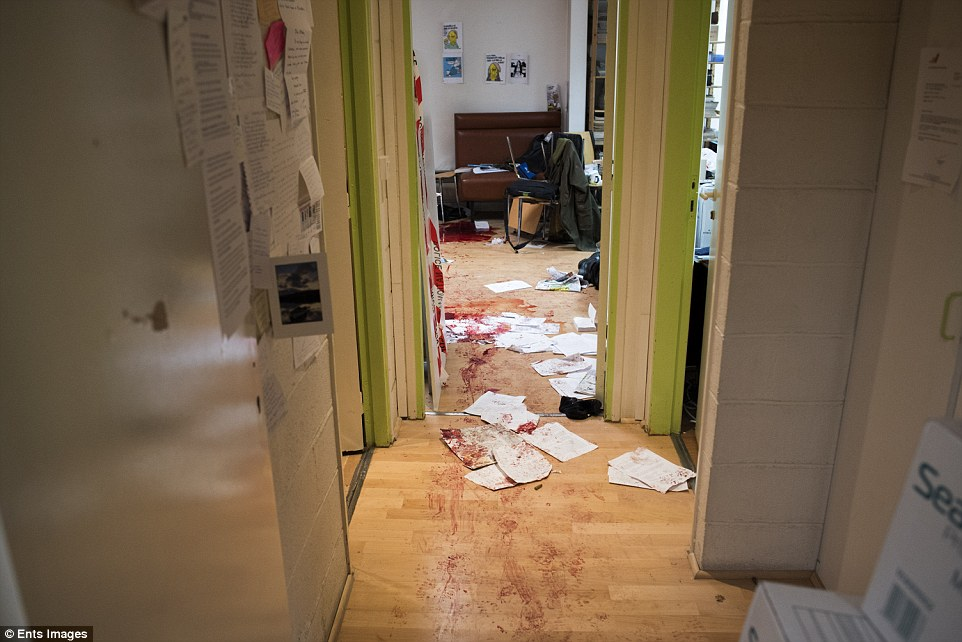 Hebdo office shows blood