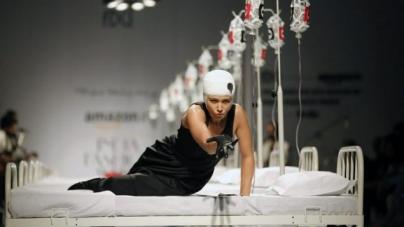 Hospital Beds, Nurses and IV Drips on India's Fashion Catwalk